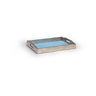 Chelsea House Home Small Blue Shagreen Tray 383979 Wood/Shagreen