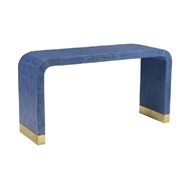 Chelsea House Home Waterfall Console - Blue 384206 Raffia/Brass