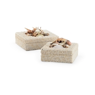 Chelsea House Home White Shell Boxes - Set of 2 384163 Shells