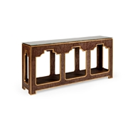 Chelsea House Home Yangon Console - Brown 384209 Raffia/Wood/Glass