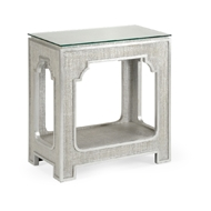 Chelsea House Home Yangon Side Table - Silver 384358 Rattan/Glass