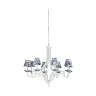 Chelsea House Lighting Blue and White Chandelier 69590 Iron/Ceramic/Fabric