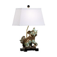 Chelsea House Lighting Chinese Dog Lamp - Left - White Shade 70005 Ceramic