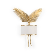 Chelsea House Lighting Double Palm Sconce - Gold 69611 Iron / Linen Fabric