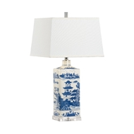 Chelsea House Lighting Square Blue and White Lamp 69957 Ceramic
