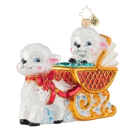 Christopher Radko Baby Lamb Sleigh Ride Christmas Ornament