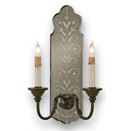 Currey Light Fixtures - 5403 Antonio Wall Sconce - Wrought Iron/Mirror Wall Sconce