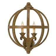 Currey Light Fixtures - 5095 Axel Wall Sconce - Wrought Iron/Wood Wall Sconce