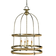 Currey Light Fixtures - 9172 Beesthorpe Lantern - Pyrite Bronze/Chestnut Chandeliers