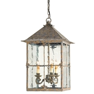 Currey Light Fixtures - 9231 Bellamy Lantern - Wrought Iron/Glass Chandeliers