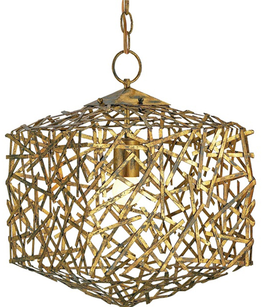 Currey Light Fixtures 9168 Confetti Cube Pendant Hand Rubbed Gold Leaf Chandeliers Company
