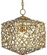 Currey Light Fixtures - 9168 Confetti Cube Pendant - Hand Rubbed Gold Leaf Chandeliers