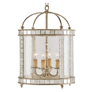 Currey Light Fixtures - 9238 Corsica Lantern, Large- Wrought Iron/Glass/Mirror