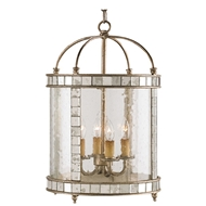 Currey Light Fixtures - 9229 Crosica Lantern, Small - Wrought Iron/Glass/Mirror Chandeliers