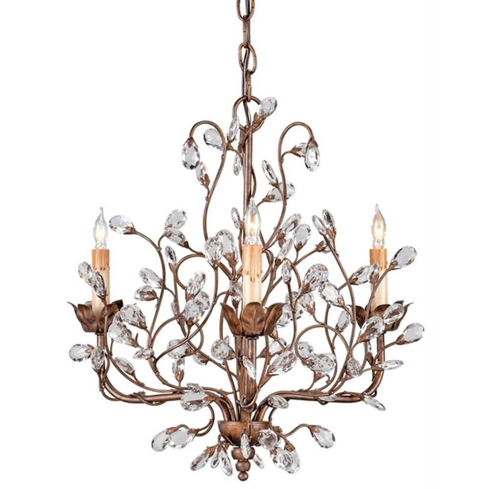 Currey Light Fixtures 9883 Crystal Bud Chandelier Small Iron Company