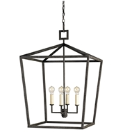 Currey Light Fixtures - 9872 Denison Lantern, Small - Wrought Iron Chandeliers