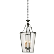 Currey Light Fixtures - 9468 Fergus Lantern - Wrought Iron/Glass Chandeliers