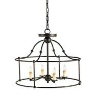 Currey Light Fixtures - 9878 Fitzjames Ceiling Mount Pendan - Wrought Iron Chandeliers