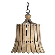 Currey Light Fixtures - 9088 Fruitier Pendant - Wrought Iron/Wood Chandeliers