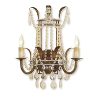 Currey Light Fixtures - 5543 Laureate Wall Sconce - Wrought Iron/Crystal Wall Sconce