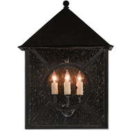 Currey & Co Ripley Outdoor Wall Sconce - Midnight Finish