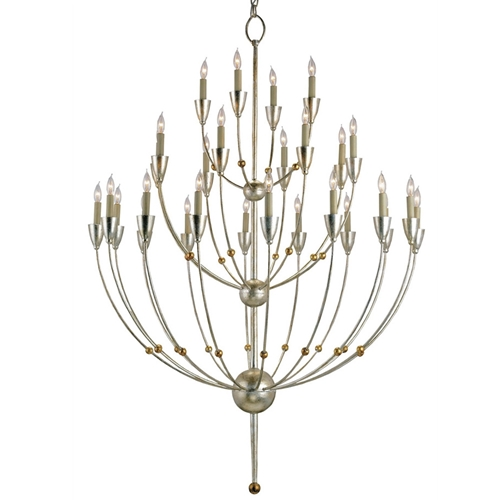 Currey Light Fixtures - 9159 Paradox Chandelier - Silver Granello/Gold Leaf Chandeliers