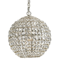 Currey Light Fixtures - 9005 Roundabout Pendant - Wrought Iron/Crystal Pendant