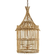 Currey Light Fixtures - 9262 Tobago Lantern - Wrought Iron/Bamboo Chandeliers