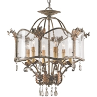 Currey Light Fixtures - 9387 Zara Flush Mount Chandelier - Wrought Iron/Glass/Crystal Chandeliers