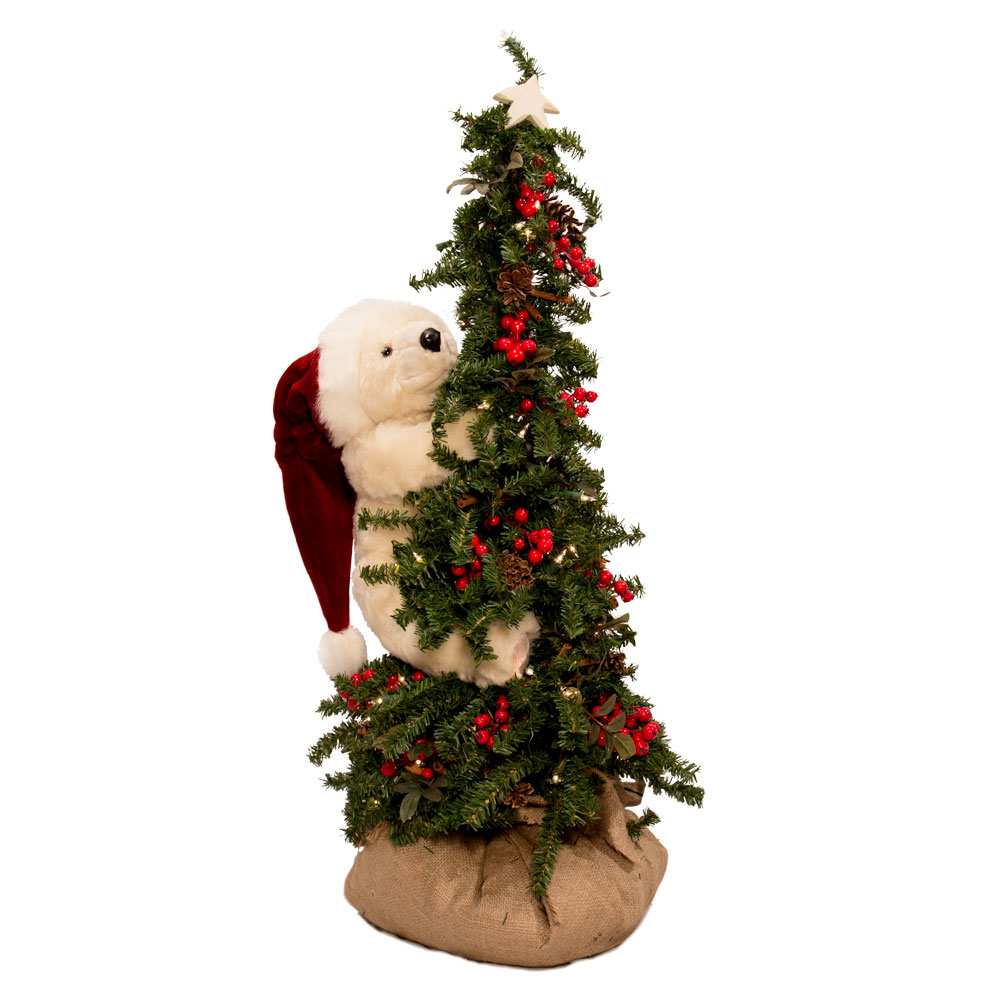 ditz designs climbing christmas tree bear 40 polar bear - Pre Lit Polar Bear Christmas Decoration Set Of 3