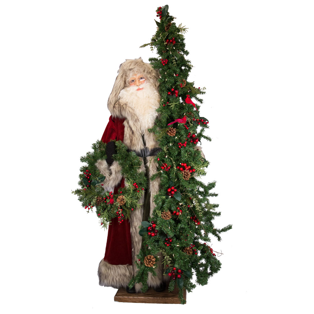 Ditz Designs Father Christmas Seasoned Greetings Santa w Tree