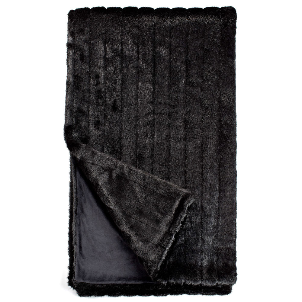 Fabulous Furs Black Mink Faux Fur Throw Blanket | Throws