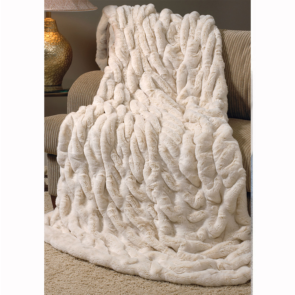 Ivory Mink Faux Fur Throw Blanket Throws Amp Pillow