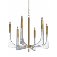 John-Richard Acrylic and Brass 6 Light Chandelier (Large) AJC-9041