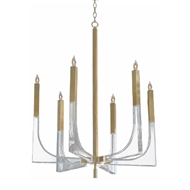 John-Richard Acrylic and Brass 6 Light Chandelier (Medium) AJC-9039