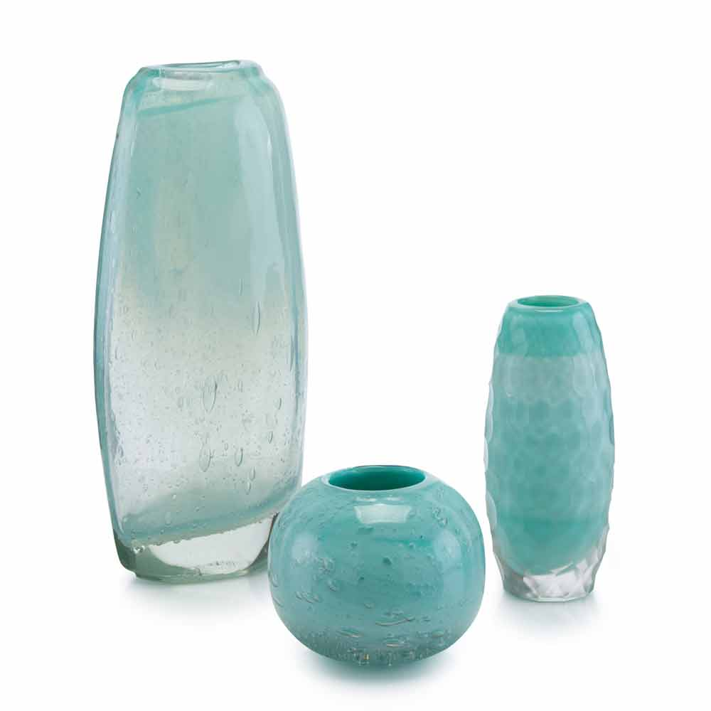 John-Richard Floating Aqua Glass Vase - Set of 3 JRA-9361S3