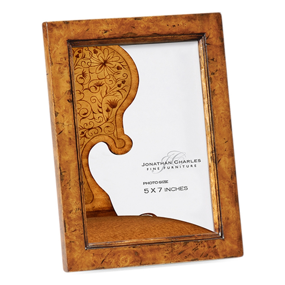 "Jonathan Charles Wall Decor Laurel Burr Walnut Picture Frame (5""X7"") 493341-BWL Burr Walnut Light"