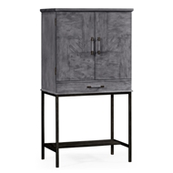 Jonathan Charles Home Antique Dark Grey Drinks Cabinet 491003-ADG Antique Dark Grey on veneer