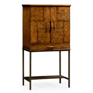 Jonathan Charles Home Country Walnut Drinks Cabinet With Light Bronze Base 491003-CFW Walnut Country Farmhouse