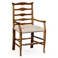 Jonathan Charles Home Country Walnut Ladder Back Armchair 491008-AC-CFW-F001 Walnut Country Farmhouse
