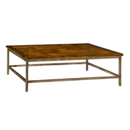 Jonathan Charles Home Antique Dark Grey Square Coffee Table With Iron Base 491014