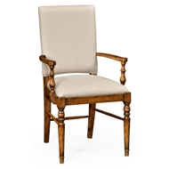 Jonathan Charles Home Country Walnut Upholstered Armchair 491018-AC-CFW-F001 Walnut Country Farmhouse