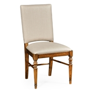 Jonathan Charles Home Country Walnut Upholstered Side Chair 491018-SC-CFW-F001 Walnut Country Farmhouse