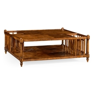 Jonathan Charles Home Rustic Walnut Square Coffee Table With Magazine Rack 491026