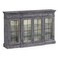 Jonathan Charles Home Four Door China Display Cabinet In Antique Dark Grey 491027-ADG Antique Dark Grey on veneer