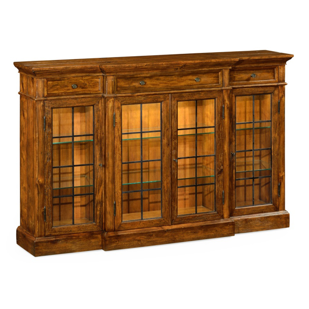 Jonathan charles home four door china display cabinet in rustic walnut