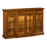 Jonathan Charles Home Four Door China Display Cabinet In Rustic Walnut 491027-CFW Walnut Country Farmhouse