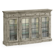 Jonathan Charles Home Four Door China Display Cabinet In Light Grey 491027-RGA Rustic Grey Acacia