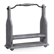 Jonathan Charles Home Wine Bottle Holder In Antique Dark Grey 491039-ADG Antique Dark Grey on wood