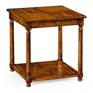 Jonathan Charles Home Country Walnut Parquet Square Lamp Table